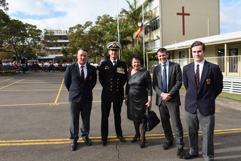 Anzac Day service at St Pauls' . Curtis Wright, Commander Sean O'Dwyer, Mayor jean Hay, Premier Mike Baird and Daniel Muncke.  School is also unveiling a new sculpture.